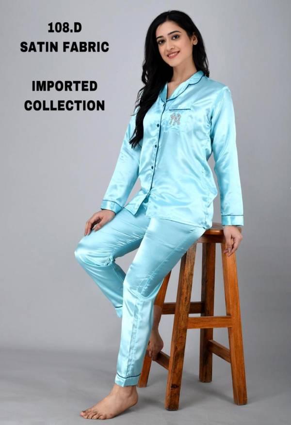 Karan Impex Satin Night Wear Series 108A-108F Satin Beautiful And Comfortable Designer Nightwear Collection