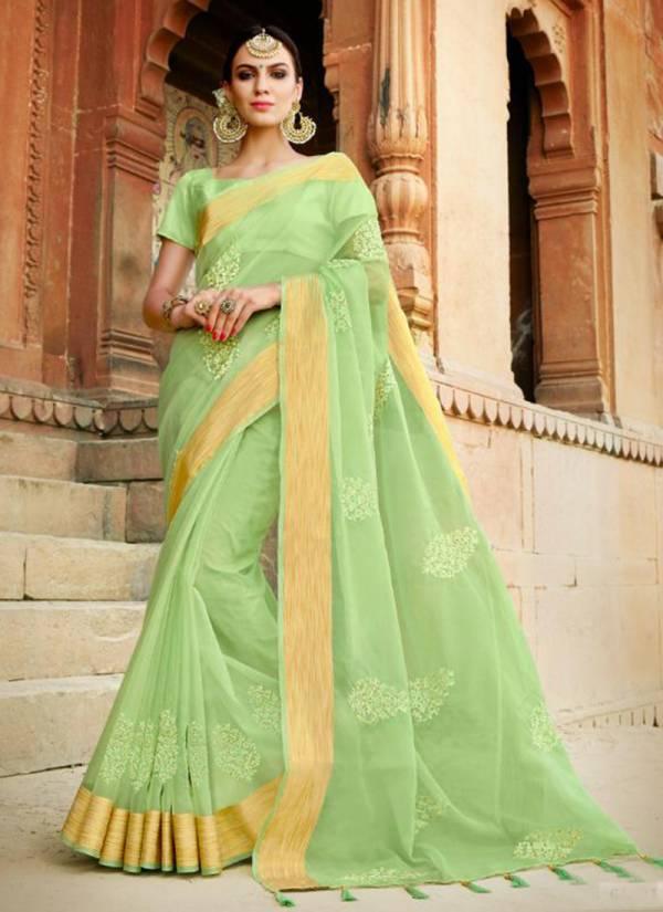 Saroj Najiya Series 61001 To 61006 Two Tone Embroidery Work Latest Designer Party Wear Organza Sarees Collection