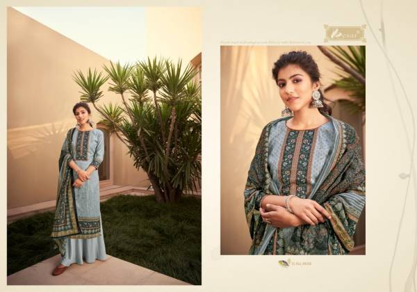 Kesar Trident Pure Jam Digital Printed With Aari Work Palazzo Suits Collection
