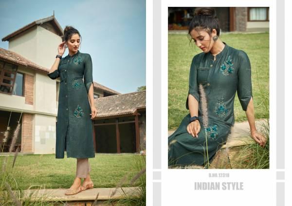 Kalaroop Cloud Lining Silk With Fancy Hand Work Kurtis Collection