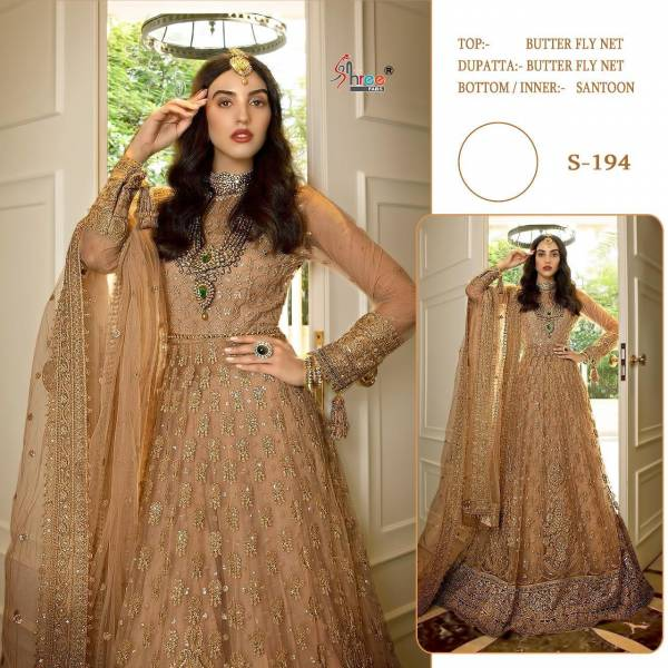 Shree Fab Series 194 Butter Fly Net Zari Embroidery With Stone Work Anarkali Wedding Wear Suits Collection