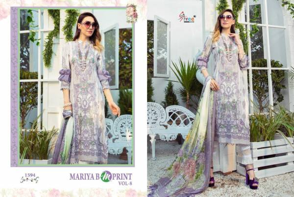 Shree Fab Maria B M Prints Vol-08 Cambric Lawn Print With Embroidery Work Salwar Suit Collection
