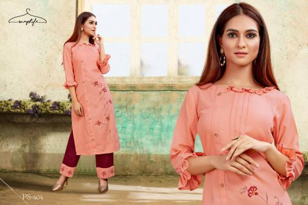 Snapstyle Khwaab Vol 2 Series 400-405 Cotton Slub Embroidery & Hand Touch Straight Cut Kurtis With Pants Collection