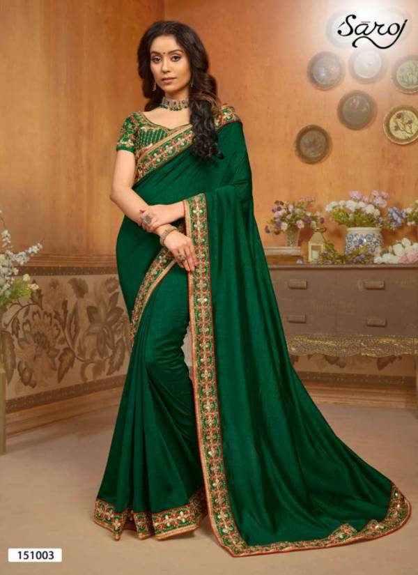 Saroj Hast Kala Series 151001-151006 Vichitra Silk With Heavy Embroidery Border New Designer Work Sarees Collection