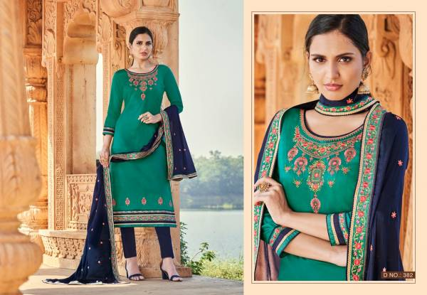 Triple AAA Kajal Series 381-386 Jam Silk With Embroidery Work Casual Wear Designer Straight Suits Collection