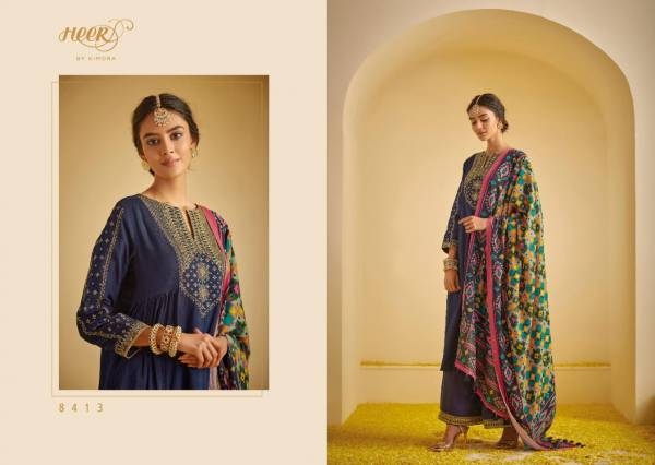 Kimora Patola Series 8411-8418 Tussar Silk Self Butti With Embroidery Work on Neck Eid Special Designer Palazzo Suits Collection