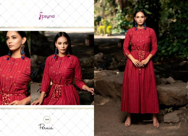 Psyna Pernia Vol 1 Cotton With Fancy Hand Embroidery Work Long Kurti Colletion