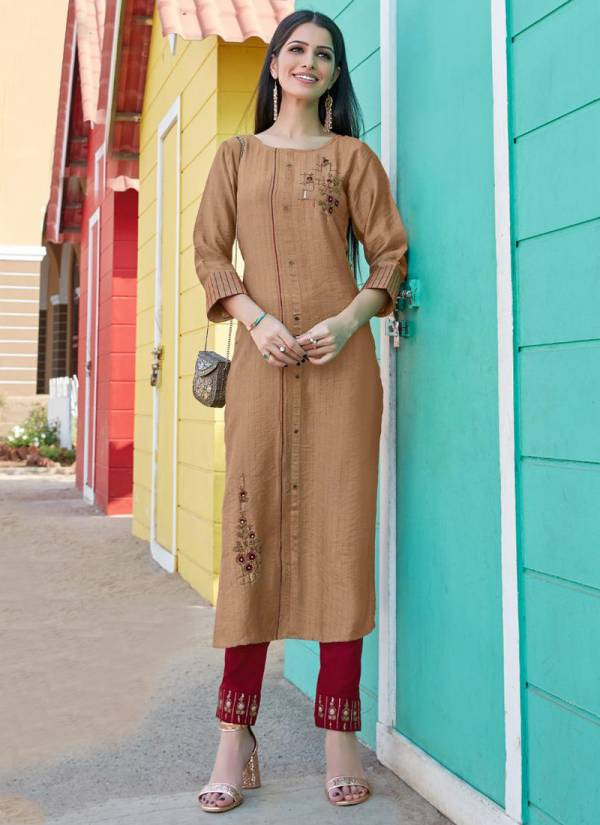 Ladies Flavour Copper Stone Vol-2 Pure Nylon Viscose With Embroidery With Khatli work