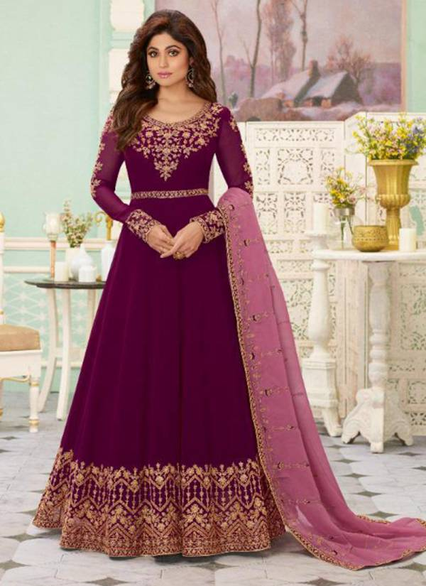 Aashirwad Aarya Series 7097-7101 Real Georgette With Dull Santoon Inner Stylish Look Wedding Wear Anarkali Suits Collection