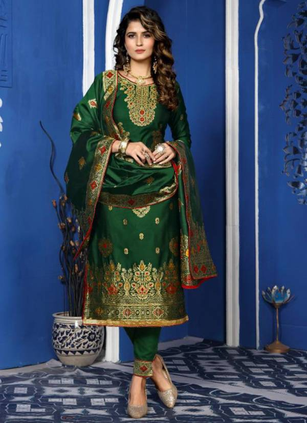 AArav Trendz Basanti Series 347-352 Silk Meenakari Jacquard Fancy Diamond Dull Santoon With Border Wedding Wear Salwar Suit Collections