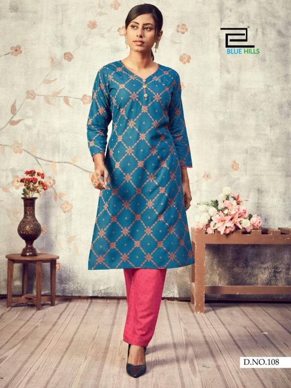 Blue Hills Jasmine Vol 1 Rayon Foil Print Casual Wear Kurtis With Pants Collection
