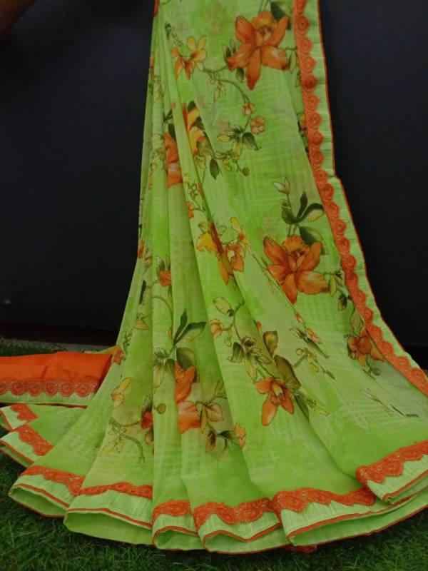Manokamna Trendz Kangana Series E-1 - E-8 Bela Chiffon With Flower Printed Regular Wear Sarees Collection
