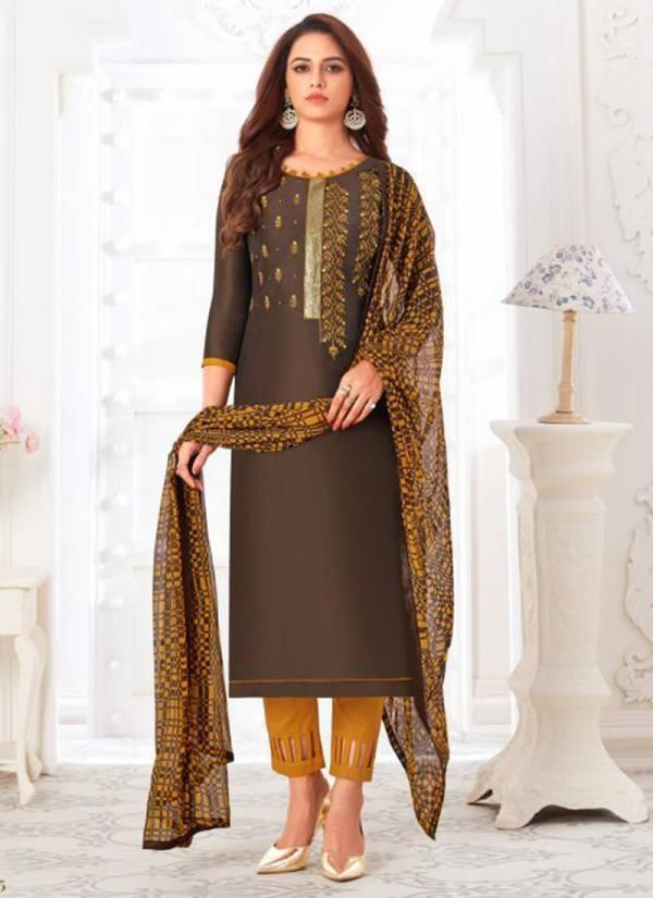 Vishnu Impex Naziya Series 19001-19010 Zarna Silk With Embroidery Work New Designer Casual Wear Churidar Suits Collection