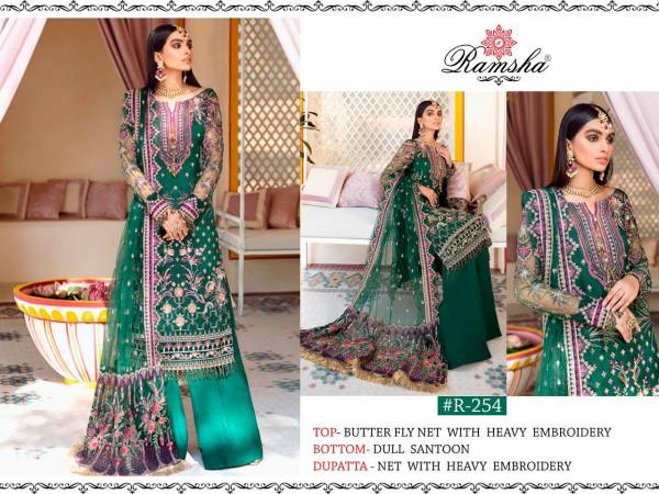Ramsha Series R254-R256 Butterfly Net With Heavy Embroidery Work Wedding Wear Pakistani Suits Collection