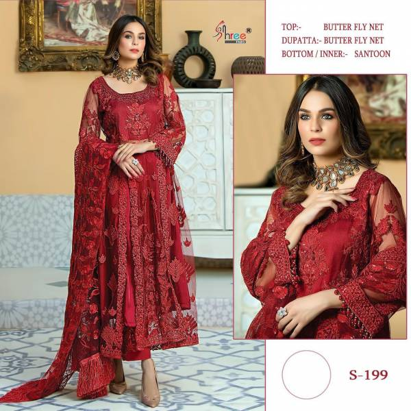 Shree Fab Series 199 Butter Fly Net With Latest Designer Embroidery Work Eid Festival Pakistani Suits Collection