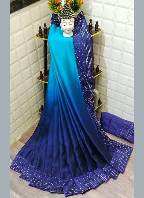 Razzo Export Series COLORS12-1 - COLORS12-10 Pure Satin Silk With Machine Stone Diamond Work New Designer Party Wear Sarees Collection