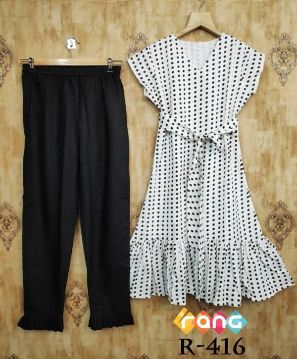 Nakshatra Fashion Studio Rang Vol 52 Series R-415 -R-418 Polyester Printed Latest Designer Polka Dot Tops With Fancy Pants Collection
