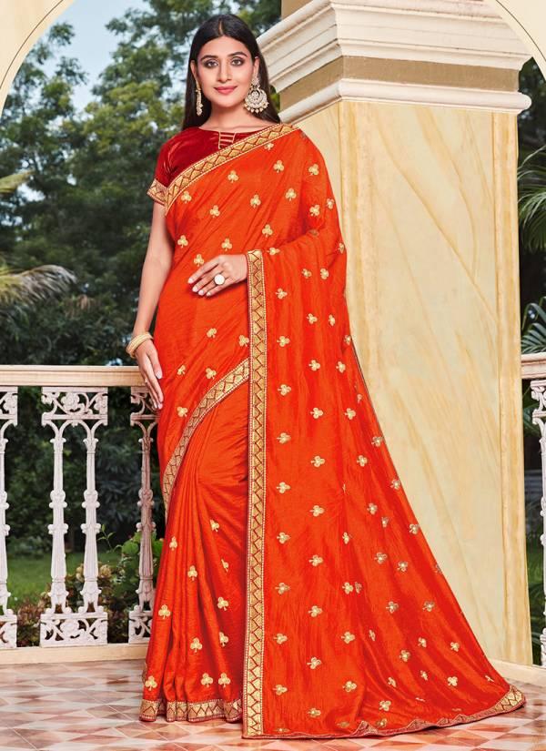 Kalista Fashion Kalista Zoya Embroidery Butti Work Vichitra Silk Sarees Collection