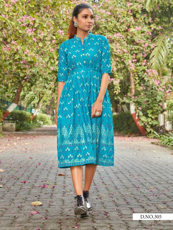 Blue Hills Style Out Vol 3 Series 301-308 Rayon Slub With Gold Foil Printed Casual Wear Fancy Kurti Collection