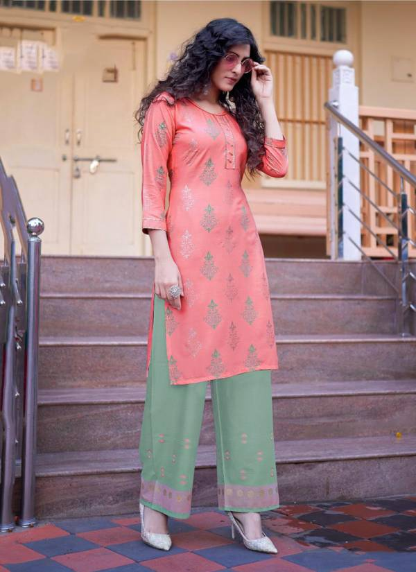 Vee Fab Style In Vol 5 Series 101-110 Heavy Rayon With Multi Colour Foil Printed Designer Kurtis With Palazzo Collection