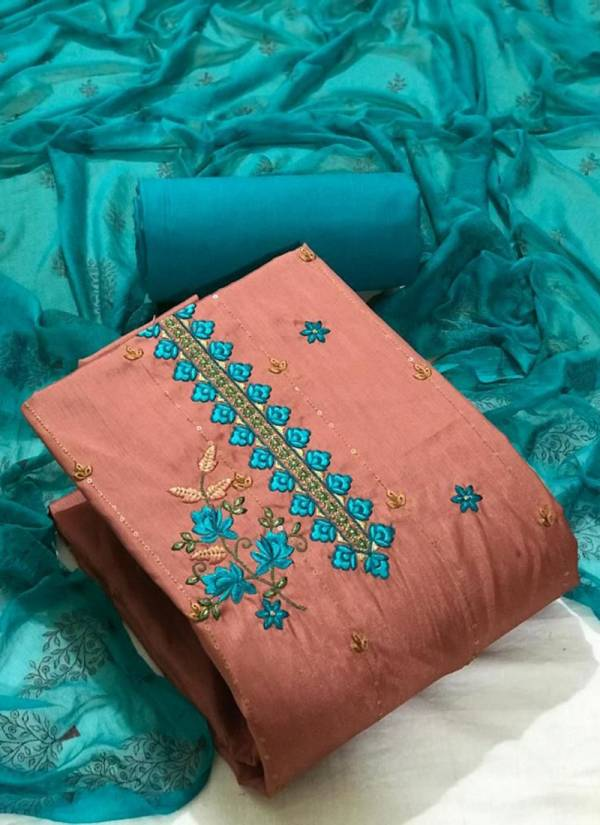 New Designer Embroidery Work Fancy Silk Dress Material Collection