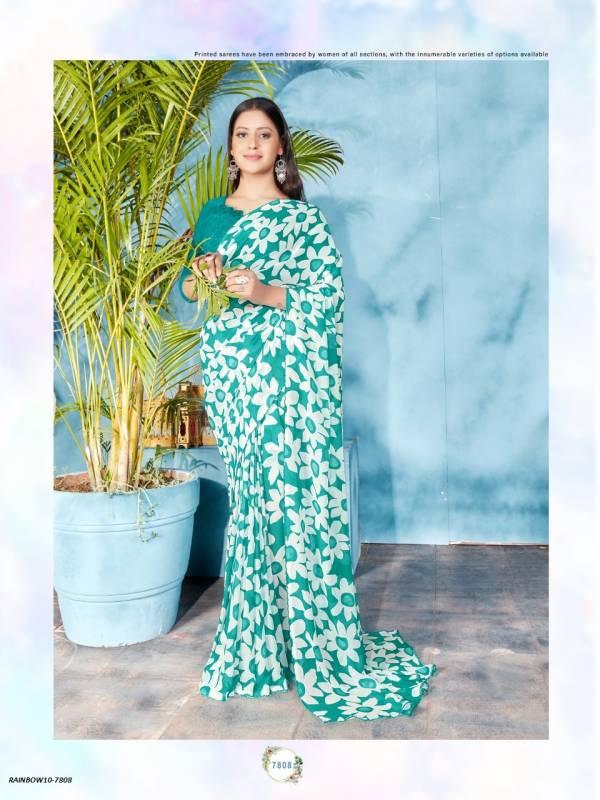 Madhur Kesari Rainbow Georgette Fancy Digital Printed Regular Wear Sarees Collection