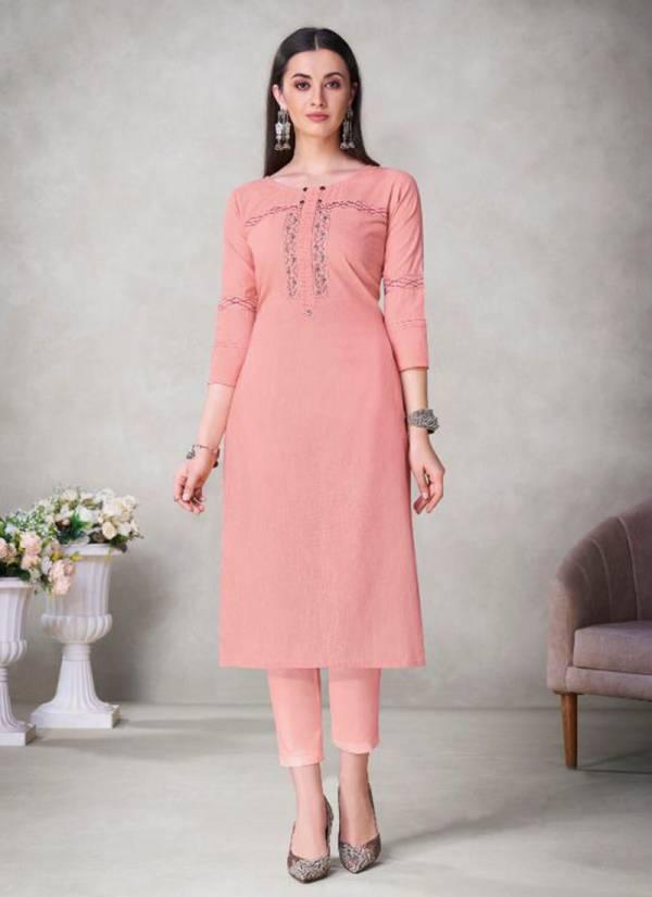 Vaamika NX Mahira Series MAHIRA-301-MAHIRA-306 Viscose Slub With New Designer Embroidery Work Latest Designer Straight Cut Kurtis Collection