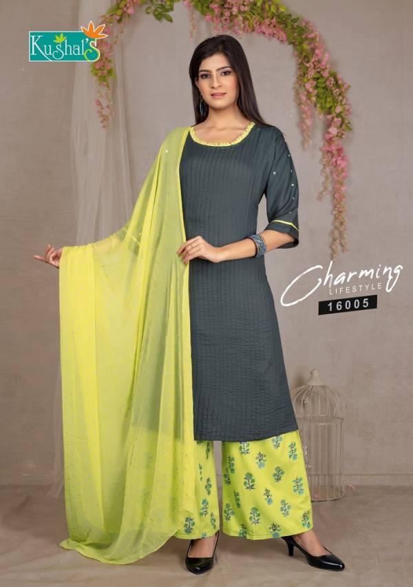 Kushal Mohini -Pure Rayon Hand work Sleeves Kurti Plazzo Collection