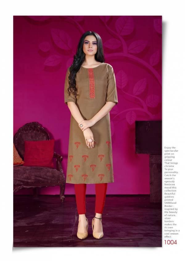 Riya Designer Arena Cotton Slub With Embroidery work With Daman Work Designer Kurti Collection