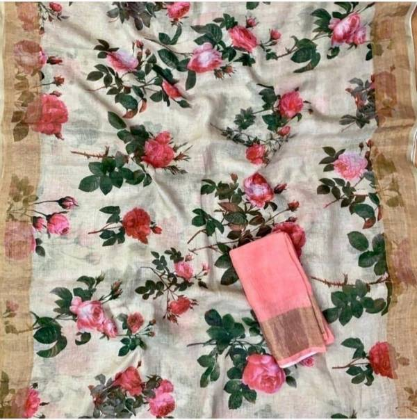 Glam Elegance Femina Series 1-10 Linen Digital Printed With Zari Border Latest Designer Casual Wear Sarees Collection