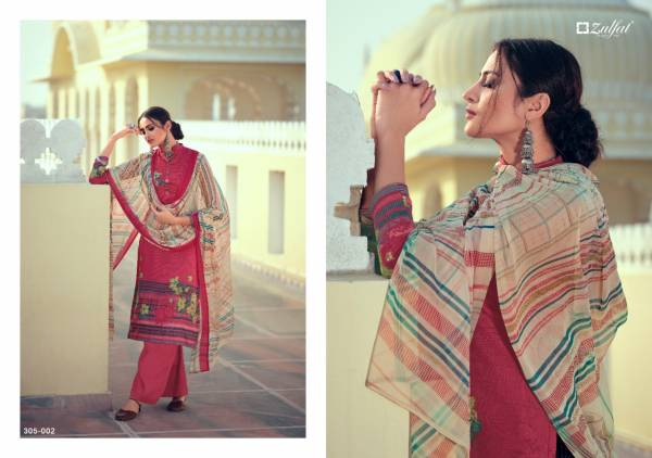 Zulfat Designer Suits Minaaz Series 305-001 - 305-010 Pure Heavy Jam Cotton With Digital Printed trendy Casual Wear palazzo Suits Collection