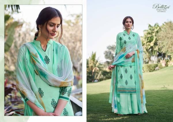 Belliza Designer Amogh Pure Premium Cotton Print with Heavy Fancy Aari Mirror Handwork Designer Palazzo Suit Collection