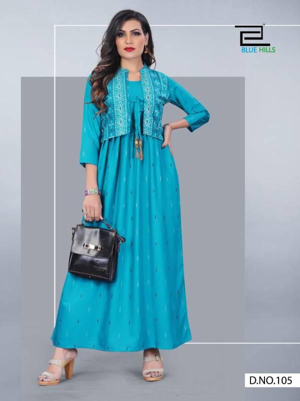 Vee Fab Aksara Vol 1 Series 101-106 Rayon Block Printed New Designer Long Kurtis With Koti Collection