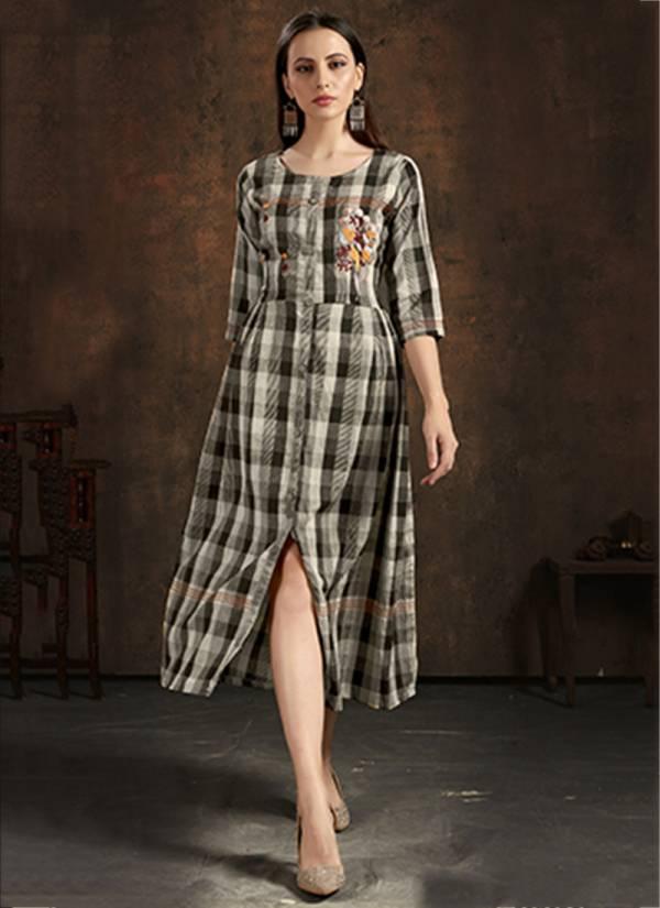 An Bazaar Series Unlock2005-Unlock2009 Pure Cotton Chex With Hand Embroidery Work Designer Regular Wear Kurti Collection