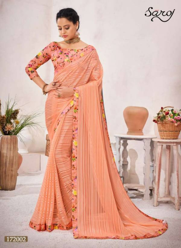 Saroj Cool Look Soft Georgette Digital Border Traditional Wear Saree Collections