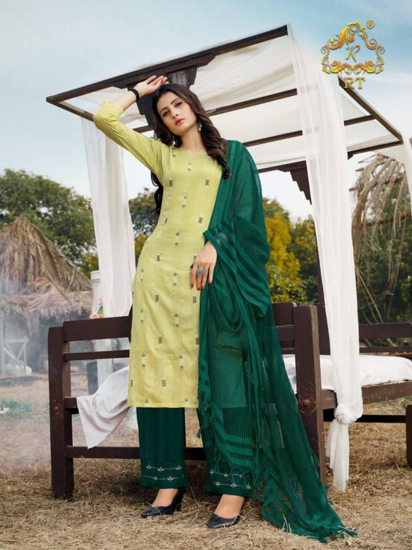Rijiya Trendz Vasant Series 1001-1006 Viscose Weaving Zari Lining Readymade Salwar Suits Collection
