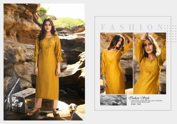 Kalaroop Octavia Vol 5 Series 1001-1006 Lining Silk With Fancy Hand Work Designer Casual Wear Kurtis Collection