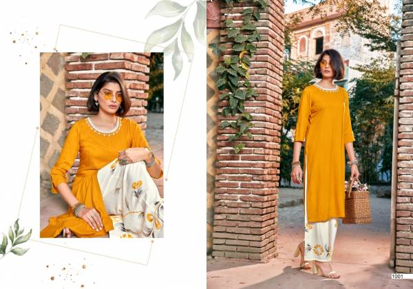 Sweety Fashion Winsley Series 1001-1006 Rayon Straight Cut New Designer Fancy Kurtis With Palazzo Collection