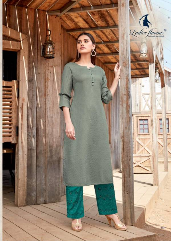 Ladies Flavour Shehnaz Vol 2 Rayon With Fancy Schiffli Work Kurtis With Pants Collection