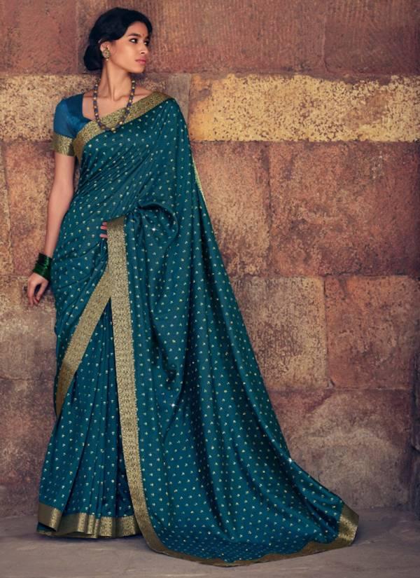 Kashvi Creation Zaffran Vichitra Silk Gold Print With Swarovski Work Wedding Wear Designer Sarees Collection