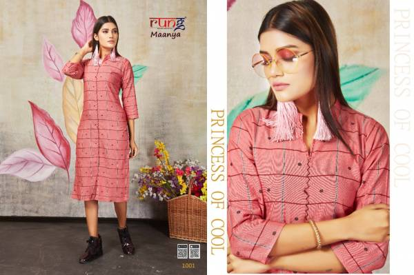 Rung Maanya Rayon Checks With Designer Hand Work Chex Kurtis Collection