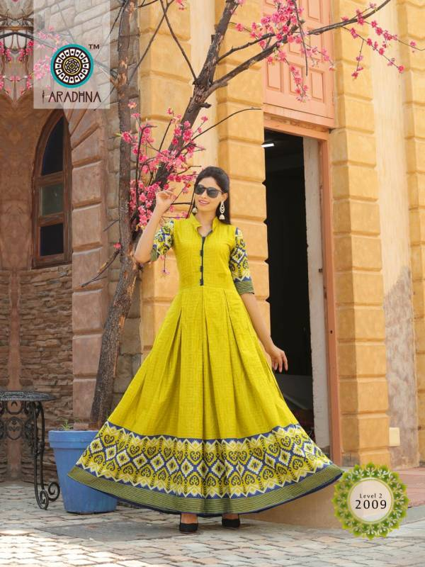 Aradhna Fashion Level 2 Cotton Printed Long Kurti Collection