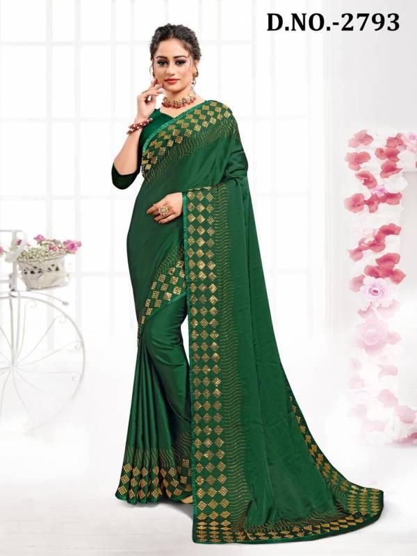 Nari Fashion Lyrics Series 2791-2800 Pure Satin With Heavy Swarovski Stone Work With Piping Sarees Collection