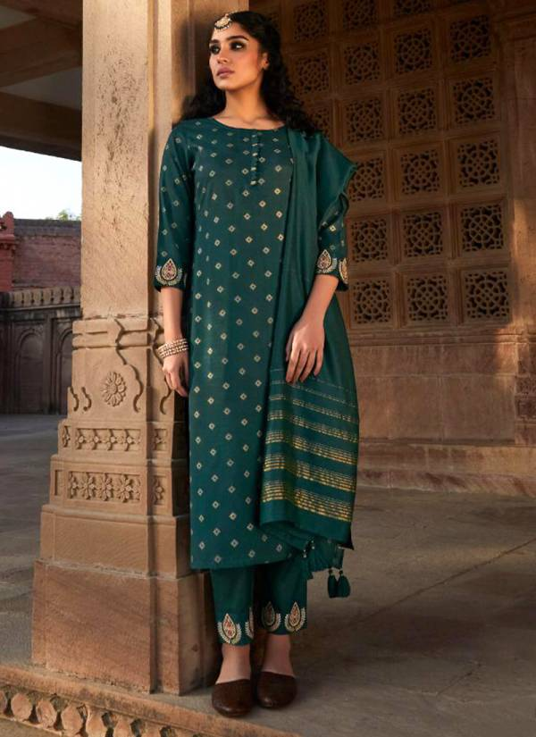 Four Buttons Rangrez Viscose Silk With Heavy Embroidery Work Designer Readymade Palazzo Collection