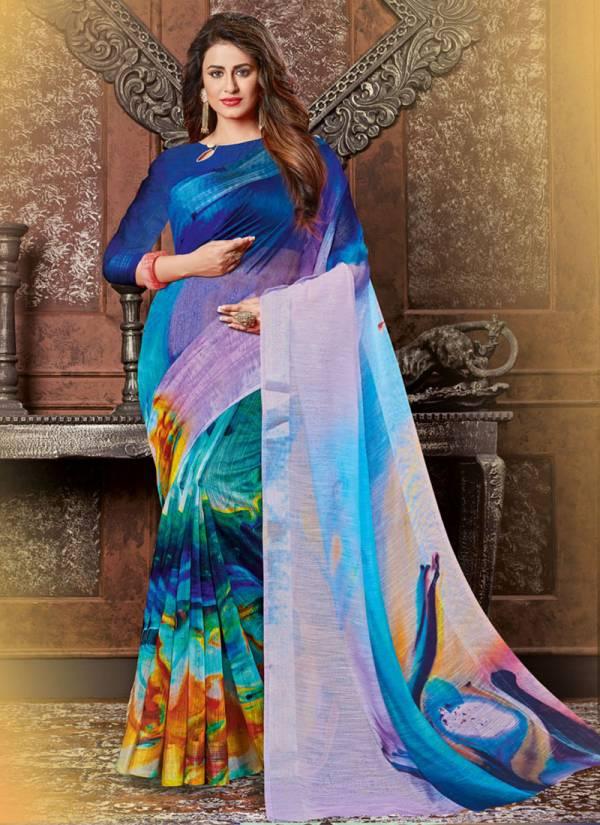 NFS Vol 2 Linen Digital Printed Saree With Zari Boder Festival Wear Designer Saree Collection