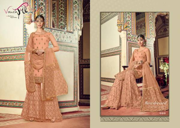 Vouch Latest Designer Georgette Viscose And Net Heavy Work Sharara Suits Collection