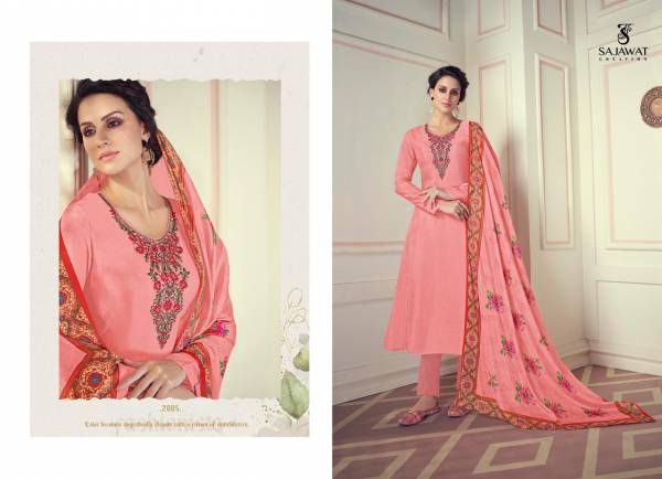 Sajawat Creation Royal Touch Vol 1 Series 2001-2005 Pure Viscose With Haevy Embroidery Work Designer Festival Wear Readymade Salwar Suits Collection