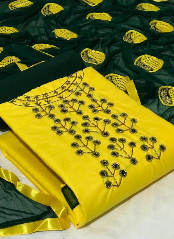 New Designer Hand Work Slub Cotton Dress Material Collection