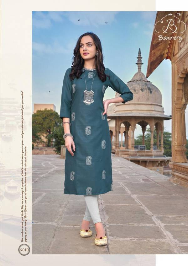 Banwery Blend Vol 6 Heavy Magic Cotton With Designer Work Kurti Collection