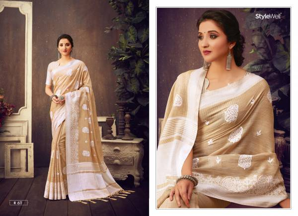 Stylewell Lucknowi Series 611-616 Linen Jacquard With Embroidery Work Party Wear Sarees Collection